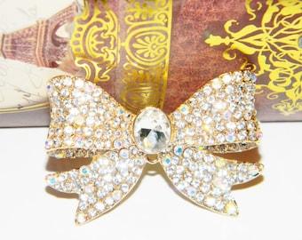 SALE 1 Piece Big Bow Gold Alloy Rhinestone Embellishment Luxury Kawaii Decoden Case Accessory Bowknot
