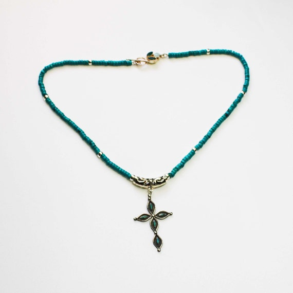 Faith, Cross Pendant, Vintage Turquoise Pendant, Sterling Silver, Natural Turquoise,  Roundel Beads, Gem Clasp