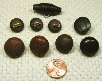 SALE - Five (5) Leather and Four (4) Wood Buttons