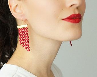 Burgundy Earrings Statement Earrings Lace Earrings Dangle Earrings Geometric Earrings Fashion Earrings Gift For Her / PAOLI