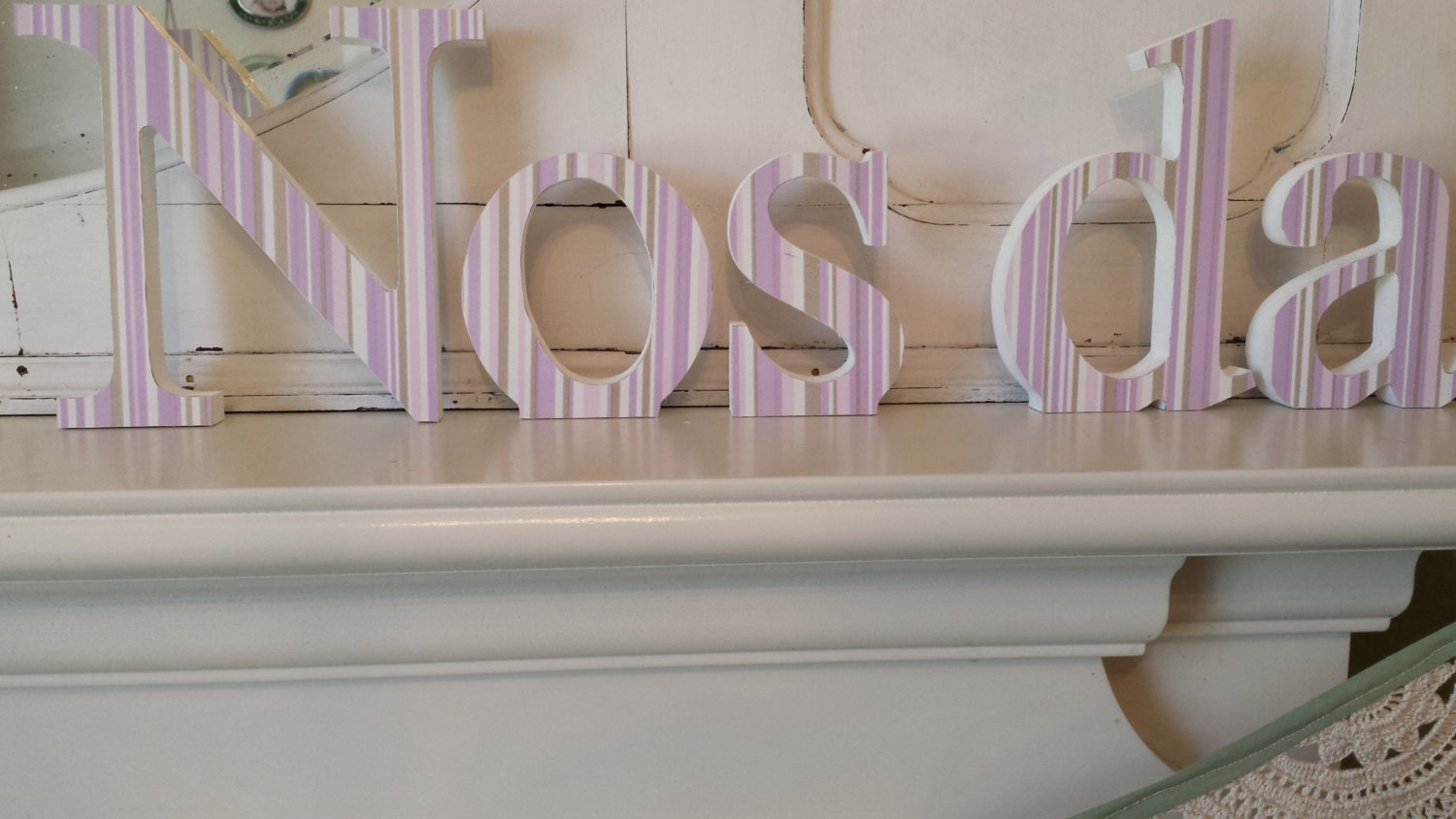 Shades of lilac and silver Nos Da free standing wooden decoupaged letters. Lovely for new baby15 cm high