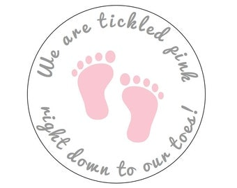 12 Tickled Pink Stickers, Baby Shower Labels,  It's a Girl, Pink Toe Stickers, Baby Feet, Nail Polish Favors, Thank You Labels