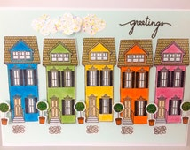 Handmade House Card, Greeting Card, Rainbow Row, Welcome Card, Friendship Card, Thinking of You Card, Thank You Card, Houses