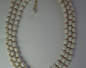 Vintage Three Strand Milky White Beaded Necklace