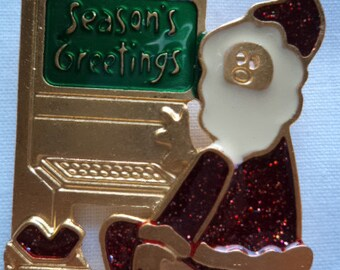 Vintage Signed Newpro Seasons Greeting Santa Brooch/Pin