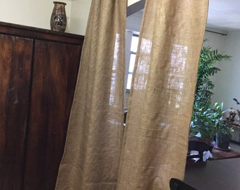 "2 panels natural burlap curtains each 37"" wide 80"" long"