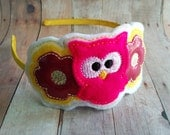Owl and Flower Headband- Fuschia Glitter Vinyl and Yellow and Hot Pink Felt with Embroidery on Satin Covered Headband, Made in USA