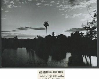 Papago Island sunset vintage art photo