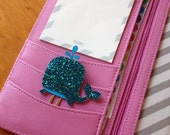 BLUE GLITTER WHALE - Planner Clip, Bookmark, Planner Accessory, Stationary