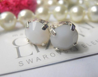 White Alabaster 8mm Swarovski Crystal Chatons Silver plated setting, Post Earrings - Stud Earrings, Shabby Chic Jewelry