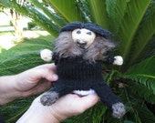 "Jon Snow/Ghost TransformKnit, Hand knit, approx. 7"" tall, reversible doll, video demo available"