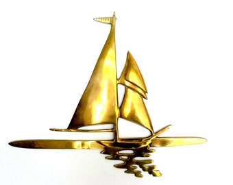 Large Brass Sailboat Wall Decor, Sailing Nautical Decor, Large Nautical Wall Decor, Boating, Sailboats, Tropical Decor, Beach Decor