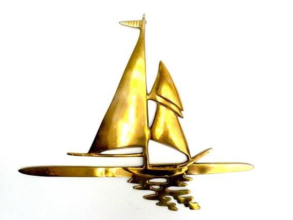 Large Brass Sailboat Wall Decor, Sailing Nautical Decor, Large Nautical Wall Decor, Boating, Sailboats, Tropical Decor, Beach Decor