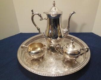 Vtg Coffee/Tea Service by Wm Rogers- 4 Piece Set Coffee/Tea Pot, Sugar Bowl, Creamer & Tray, Usable Set, Clean Interiors, NICE