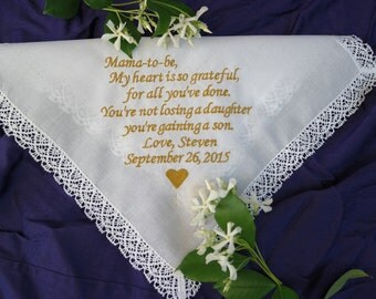 MOTHER-IN-LAW Custom Embroidered Wedding Handkerchief for Mother-in-Law