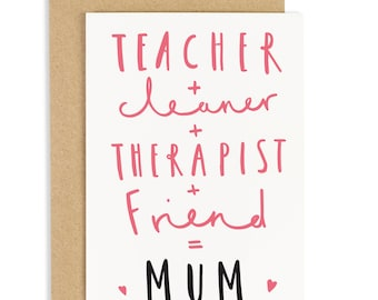 Mum Equals Mother's Day - Card for Mum - CC18