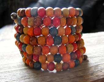 Boho Multi Coloured Wooden Bead Bracelet, Beaded Cuff Bracelet, Eco-Friendly, Upcycled, Oversize Stacking Bracelet, Beachy, Gypsy Jewelry