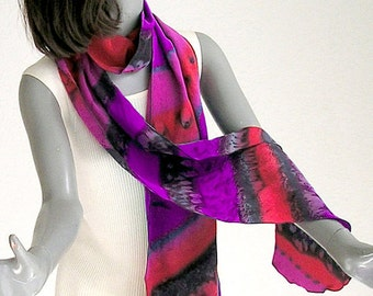 Hand Painted Scarf, Hand Dyed Silk, Multicolor, Long Unique Scarf, Crepe Long Scarf, Made to Order, One of a Kind, Artist Handmade, Jossiani