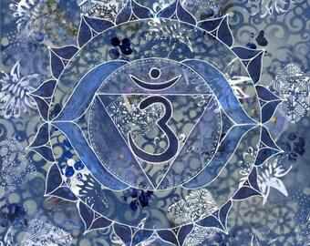 Third Eye Chakra, Mandala, Yoga, Blank Cards, Kundalini Yoga, Chakra, Meditation, Yoga Artwork, Sacred Geometry, Blue Art, Cards, Art Prints