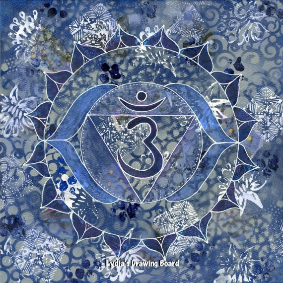 Third Eye Chakra, Mandala, Yoga, Blank Cards, Kundalini Yoga, Chakra, Meditation, Yoga Artwork, Sacred Geometry, Blue Art, Cards, Art Prints
