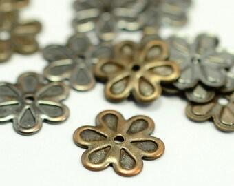 50 Pcs. Antique Copper 13 mm Flower Findings