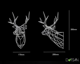 Stag Head Trophy Large 3D Print Wire Faceted Wall Mounted Sculpture.