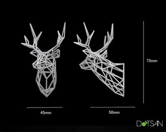 Small 1/12 3D printed faceted white Stag Head 75mm high