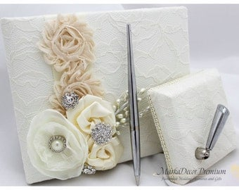 Wedding Lace Guest Book Pen Holder Set Birthday Book Jeweled Custom Bridal Flower Book Brooch Guest Books in Ivory and Champagne