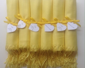 Sunshine Yellow Shawls with Yellow Ribbon and Heart Favor Tags, Set of 6, Pashminas, Wedding Favors, Bridal, Bridesmaids Gift, Wraps