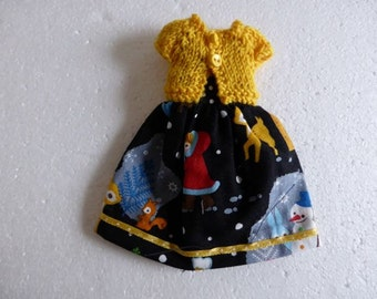 Hand Made Neo Blythe or Bratz doll Eskimo Deer Japan Spot Dress with Matching Mustard knitted Short Sleeve Cardy