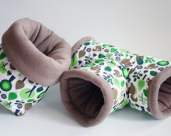 SAVE SHIPPING: 1x cosy cuddle sack / sleeping bag + 1x T-tunnel for guinea pigs, hedgehogs or sugar gliders (squirrels/coyote)