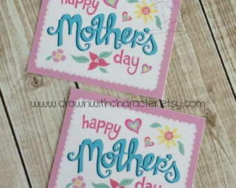 Happy Mother's Day Printable Square Tag, birthday, favor, customizable