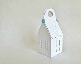 paper cut house gift box 2.4 x 2.4 x 4 inch