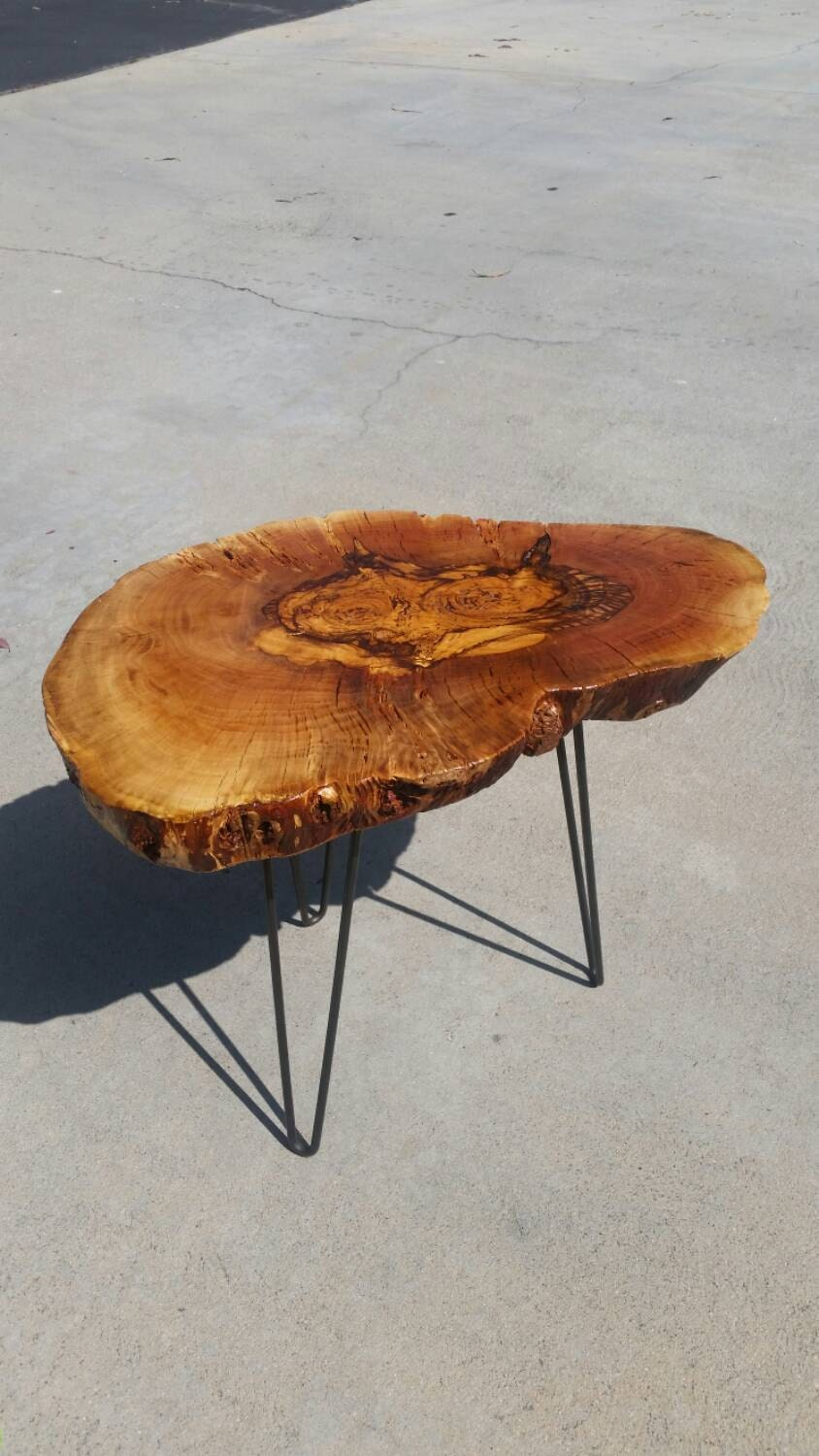 Live Edge Wood Reclaimed Side Table On Hairpin Legs