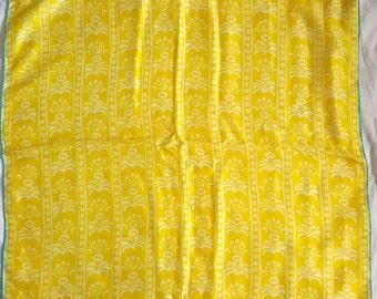"Vintage Silk Vera Ladybug Scarf - Yellow with White Floral Pattern  26"" x 26"""