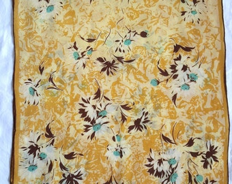 "Vintage Silk Long Scarf - Gold Teal Brown Floral Pattern  16.5"" x 45"""