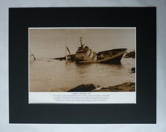 Vintage Shipwreck Print, Nautical Gift, Sepia Sea Decor, Available Framed, Ship Art, Maritime Photography, Conqueror Fishing Trawler Boat