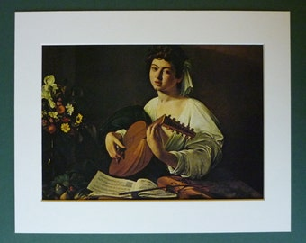 Caravaggio Print, Lute Player Art, Available Framed, Music Art, Baroque Wall Art, Musical Instruments, Hermitage Museum, 16th Century Decor