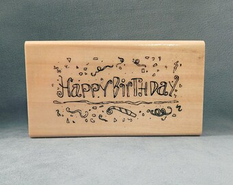 Happy Birthday - Text Stamp -  Confetti - Streamers - Handmade Cards - Craft Supplies