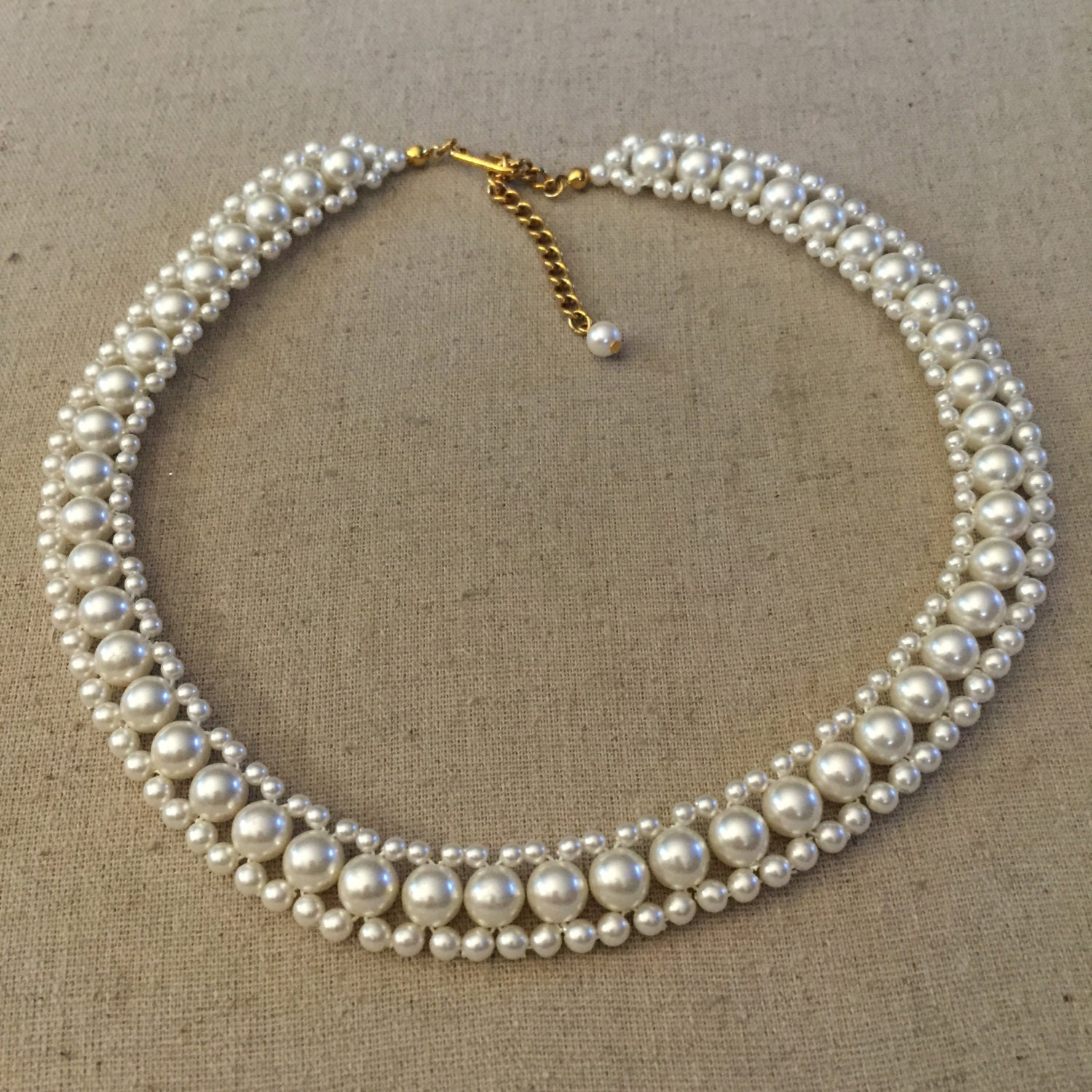 Vintage Pearl Choker Necklace: Vintage Faux Pearl Necklace Choker
