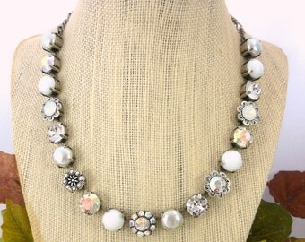 Swarovski Crystal Necklace, Chunky Choker, Clear Crystals, White Cabochons, Pearls, Flower Embellished, ICE Collection, Siggy Jewelry