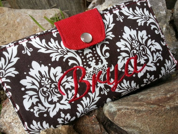 Personalized Brown Damask Checkbook