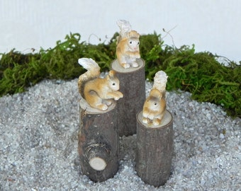 Fairy Garden accessories squirrel on a log stump - miniature for terrarium - woodland pet ONE