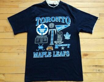 Vintage Toronto Maple Leafs Small 100% Cotton T Shirt NHL VTG