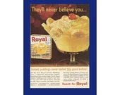 "ROYAL Instant Banana Cream Pudding Original 1963 Vintage Color Print Ad - ""Instant Puddings Never Tasted This Good Before"" Recipe"