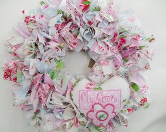 rag wreath, girl hanging decoration, personalised decoration, personalised wreath