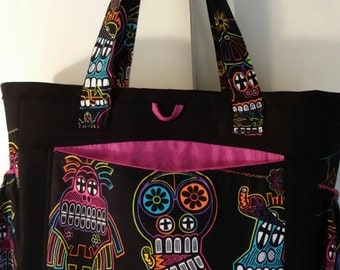 Multicolour funky skull print diaper bag
