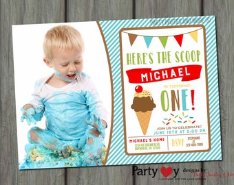 Ice Cream Invitation, Ice Cream Birthday Invitation, Ice Cream Party Invitation, Ice Cream Birthday Party, Boy Ice Cream Birthday Invitation