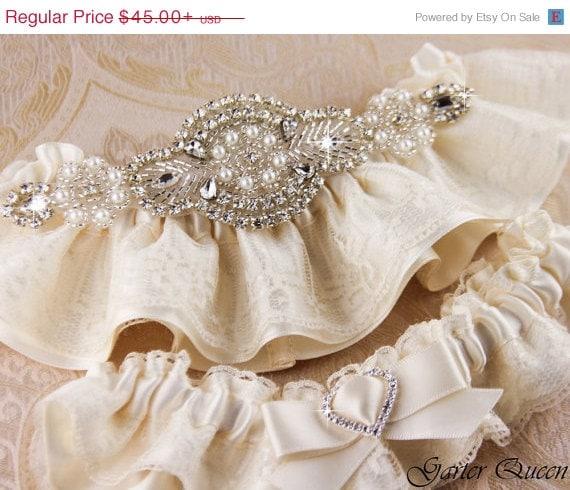 SALE Ivory Lace Garter Set, Lace Wedding Garter Set, Ivory Garter Set, Rhinestone Garter, Personalized Garter Set