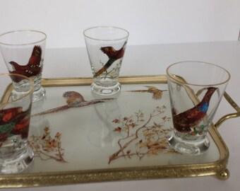 Mid Century Barware with Pheasants -Shot Glasses